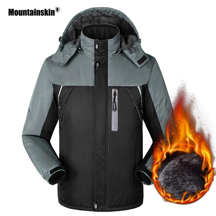 Mountainskin Men s Winter Thick Fleece Thermal Jacket Outdoor Sports Windbreaker Hiking Camping Trekking Skiing Brand