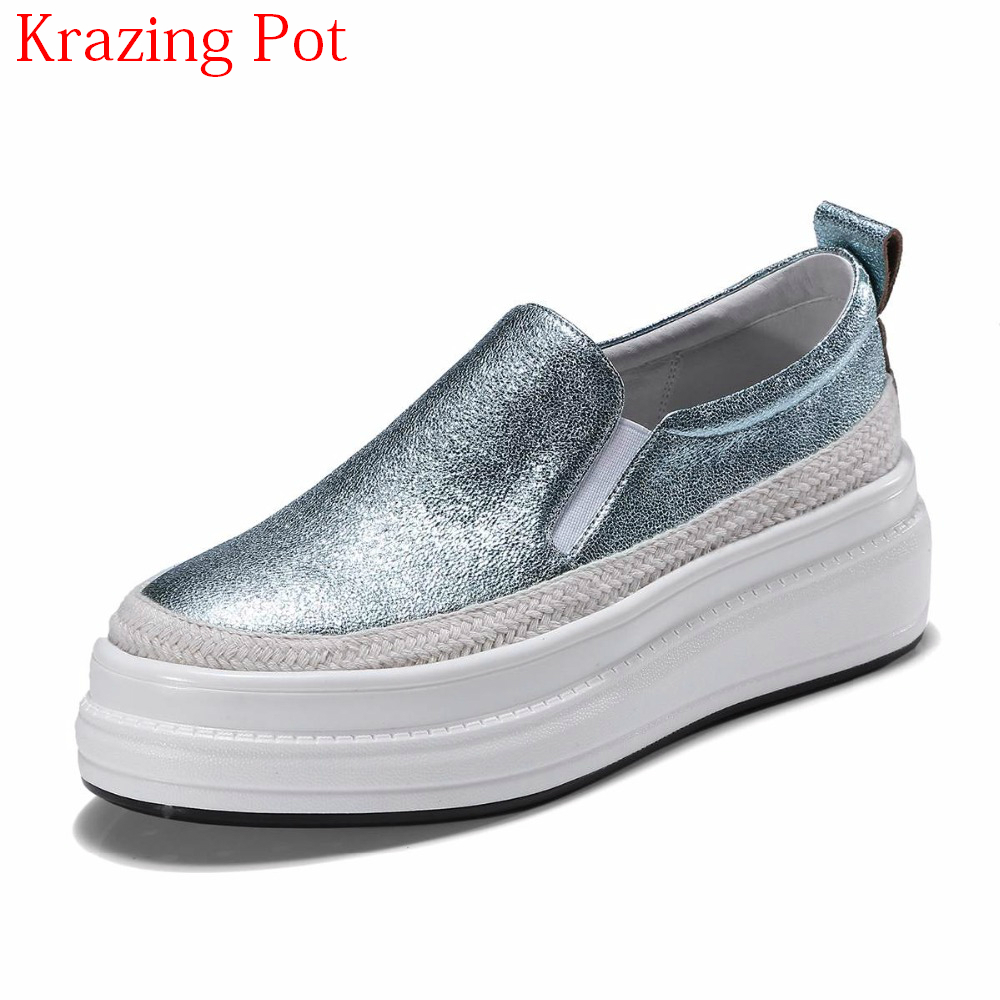 New Arrival Sheep Skin Platform Loafers Sneakers Casual Shoes Round Toe Slip on Loafer Thick Bottom