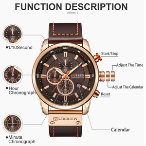 Image 4 - CURREN Brand Watch Men Leather Sports Watches Mens Army Military Quartz Wristwatch Chronograph Male Clock Relogio Masculino