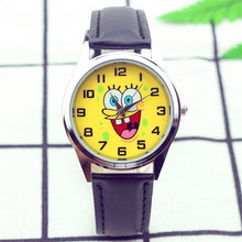 Spongebob dial boys and girls cute cartoon leather strap quartz watch child lovely Xmas gift dress clock Relogio kids watches