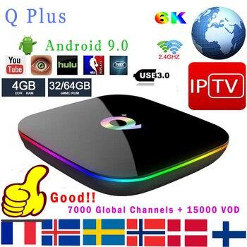 IP ТВ Q плюс Смарт ТВ Box Android 9,0 ТВ коробка 4 Гб оперативной памяти 64 Гб 32 Гб ПЗУ 6 K H.265 USB3.0 Поддержка wi-fi Netflix Google Qplus Декодер каналов кабельного телевидения