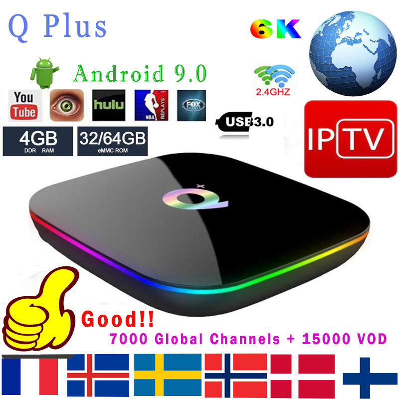 IPTV Q Plus Smart TV Box Android 9.0 TV Box 4GB Ram 64GB 32GB Rom 6K H.265 USB3.0 WIFI Support Netflix Google Qplus décodeur