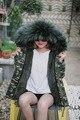 Capricho de Invierno Primavera Mujeres Tops Abrigos Nueva Llegada de La Manera de Camuflaje Colorido Con Capucha de Piel Falsa De Manga Larga Con Cordón