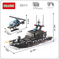 HSANHE 6511 Military Army Ploice SWAT Frigate Warship Ship Boat Helicopter 3D Model Blocks Mini Building Toy fit Legoings Gift