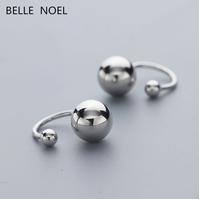 Round bead S925 sterling silver clip earrings trendy hiphop/rock fashion jewelry classic cute/romantic Christmas gift for women
