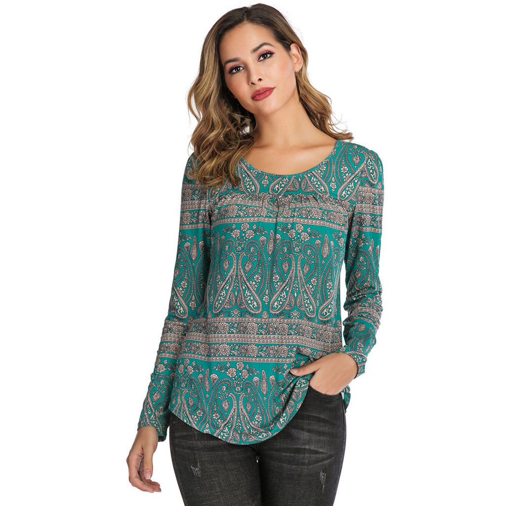 Bohemian Women's Blouses Casual Boho Style Tops & Tees Print Shirt Scoop Neck Pleated Blouse Long Sleeve Top Feminine Clothing