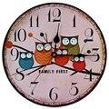 2017 Diseño Moderno Reloj De Pared De Madera Búho Vintage Rústico Shabby Chic Home Office Cafe Decoración Art Large Ver Horloge Murale