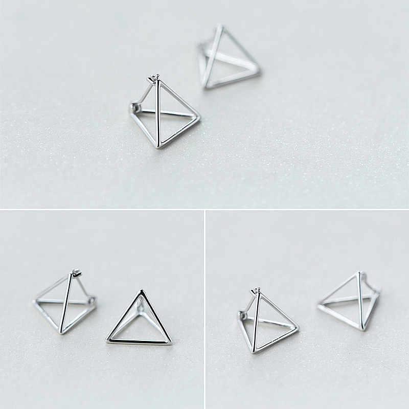 Inzatt Nyata 925 Sterling Perak Geometris Tiga Dimensi Berongga Segitiga Anting Anting-Anting untuk Wanita Fine Perhiasan Tiga Warna