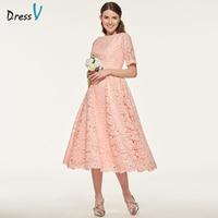 Dressv Elegant Pink Scoop Neck Bridesmaid Dress Short Sleeves A Line Tea Length Wedding Party Women
