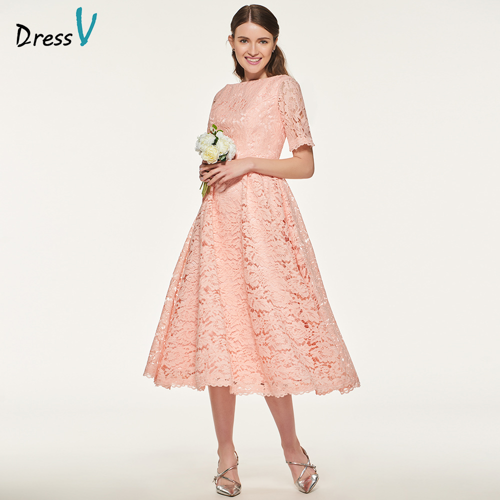 Dressv elegant pink scoop neck bridesmaid dress short sleeves a line tea length wedding party women lace bridesmaid dresses