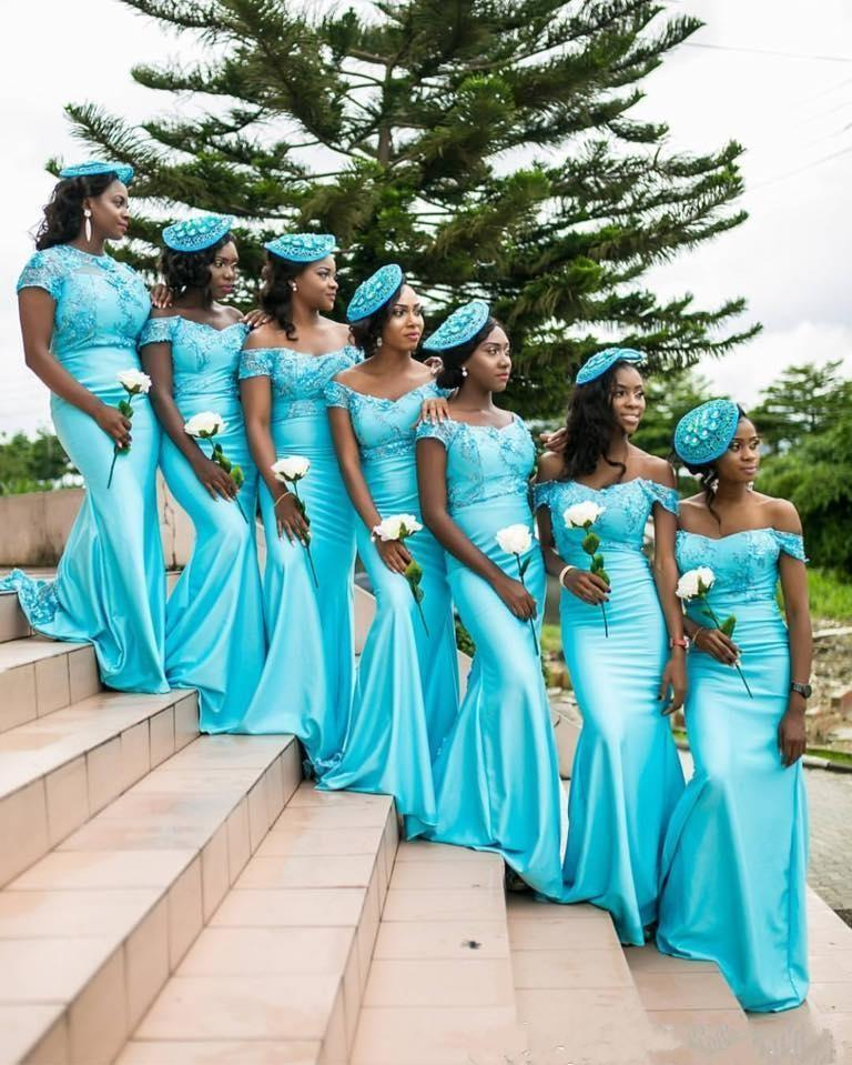 50fa3787270 2017 Turquoise South African Mermaid Bridesmaid Dresses Lace Bodice  Backless Cap Sleeves Backless Maid of the Honor Dresses B39-in Bridesmaid  Dresses from ...