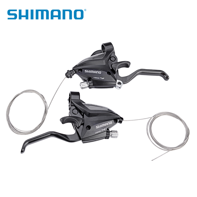 SHIMANO vélo frein manettes de vitesse vtt VTT frein à disque manette de vitesse Set cyclisme freins leviers & leviers de changement de vitesse 3x7 S ST-EF50-7 noir