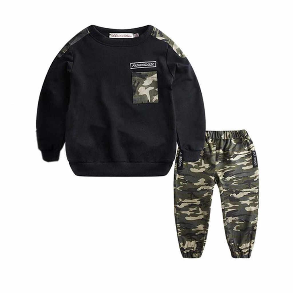 2019 חדש קיץ פעוט תינוקת בני מודפס כיסים ארוך שרוול חולצות הסוואה מודפס מכנסיים אימונית 2PCS אופנה תלבושת