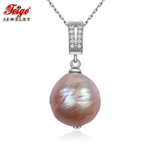 FEIGE Baroque style 13mm Big Multicolor Natural Freshwater Pearl Pendant Real 925 Silver Necklace for Women Fine Jewelry