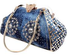 シックなデニム花火ラインストーン女性ハンドバッグトップハンドル蝶装飾パッチワークの女性のショルダーバッグクラッチ