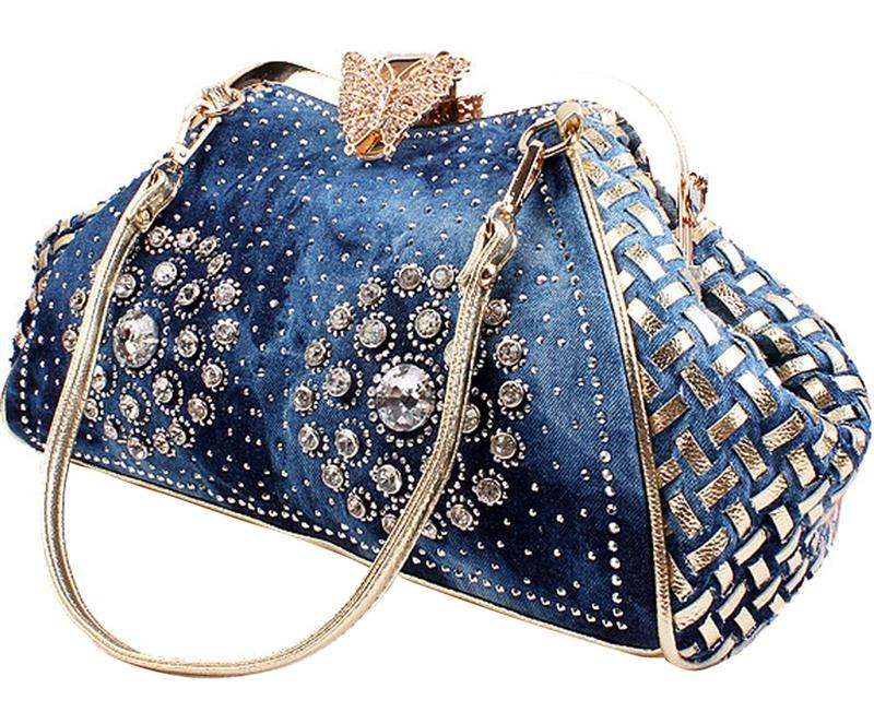 Chic Denim Fireworks Rhinestones Women Handbag Top Handle Butterfly Decoration Patchwork Ladies Shoulder Bag Clutch