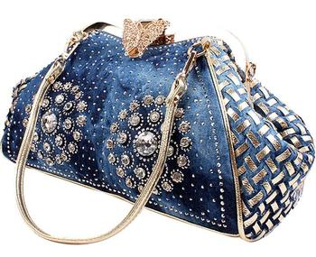 Chic Denim Fireworks Rhinestones Women Handbag Top Handle Butterfly Decoration Patchwork Ladies Shoulder Bag Clutch Cosmetic Bags
