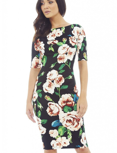 Fashion Free Shipping Designer Women Dress Elegant Floral Print Work ...