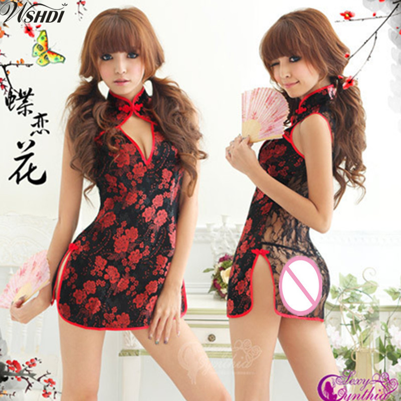 Black Lace Transparent Sexy Lingerie Mandarin Collar Cheongsam Chinese Traditional Print Qipao Flower Short Dress