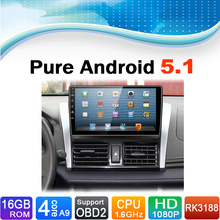Pure Android 5.1.1 System Auto Radio Autoradio Car Media Player Stereo DVD for Toyota Vois 2014-2015
