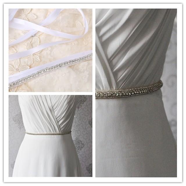 2016 New Sparkly Crystals Beaded White Bridal Belt for Wedding Dresses Rhinestone Belt wedding accessories