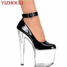 Chaussures Sexy à lanières à la cheville pour femmes, chaussures à talons Super hauts de 20cm, chaussures de danse pôle/modèle, chaussures de mariage/fête/chaussures en cristal