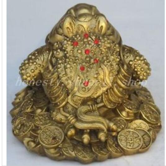 Art Bronze décoration artisanat laiton chine fengshui bronze cuivre richesse argent doré crapaud grenouille bête statue
