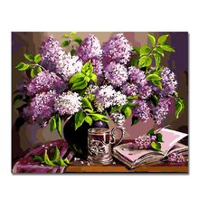 WEEN Purple Flowers-Painting By Numbers,Frameworks coloring Paint by numbers,Wall Art Pictures, Canvas Modular painting 40x50cm(China)