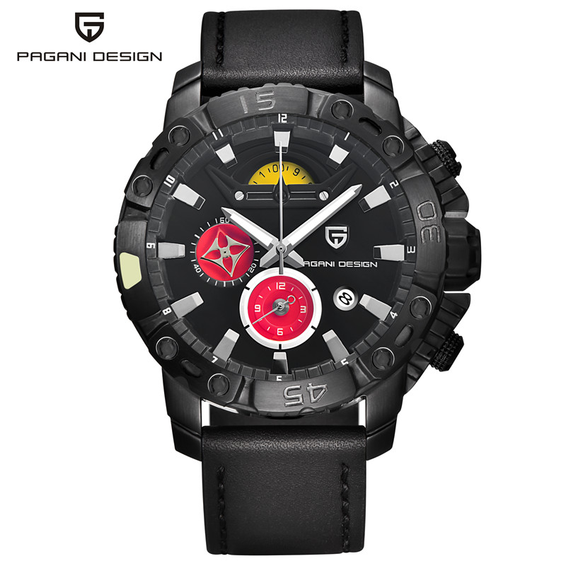 Pagani Luxury Brand Chronograph Sport Mens Watches Fashion Military Waterproof Leather Quartz Watch Clock Men Relogio Masculino xinge top brand luxury leather strap military watches male sport clock business 2017 quartz men fashion wrist watches xg1080