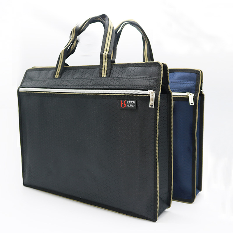 A4 Thick Portable Zipper Bag Canvas Paper Bag For Men's Office File Bag