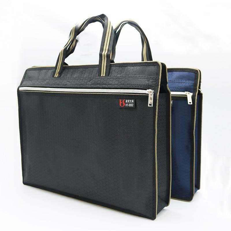 A4 Thick Portable Zipper Bag Canvas Paper Bag For Men's Office File Bag