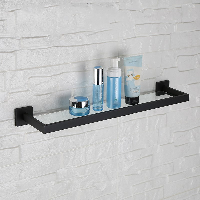 Black Finish Unique design bathroom shelf 600*142*55mm Wall mounted stainless steel and glass cary audio design dmc 600 se black