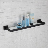 Black Finish Unique design bathroom shelf 600*142*55mm Wall mounted stainless steel and glass