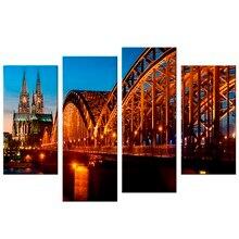 4 Pcs/Set Bridge River Cathedral Night Light Germany HD Print Canvas Painting Wall Art Home Decoration Poster Decor майка борцовка print bar night river