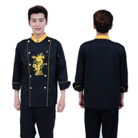 High Quality Golden Dragon Black and White Long sleeved Chef Service Jackte Hotel Restaurant Working Wear Tooling Uniform