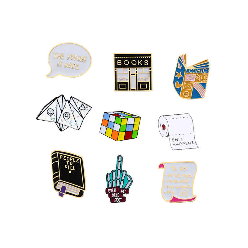 Fun Cartoon Men Brooch Women Enamel Pin Book Cube Middle finger Paper Child Toys Hijab Accessories Lapel Pin Badge Jewelry Gifts