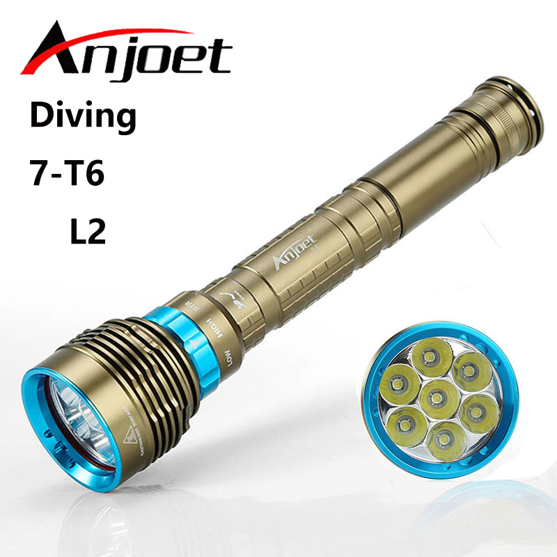 Anjoet Diving Flashlight 200 meters Underwater XM 7*L2 T6 LED Lanttern scuba Diver Torch Light lamp for 3x18650 or 26650