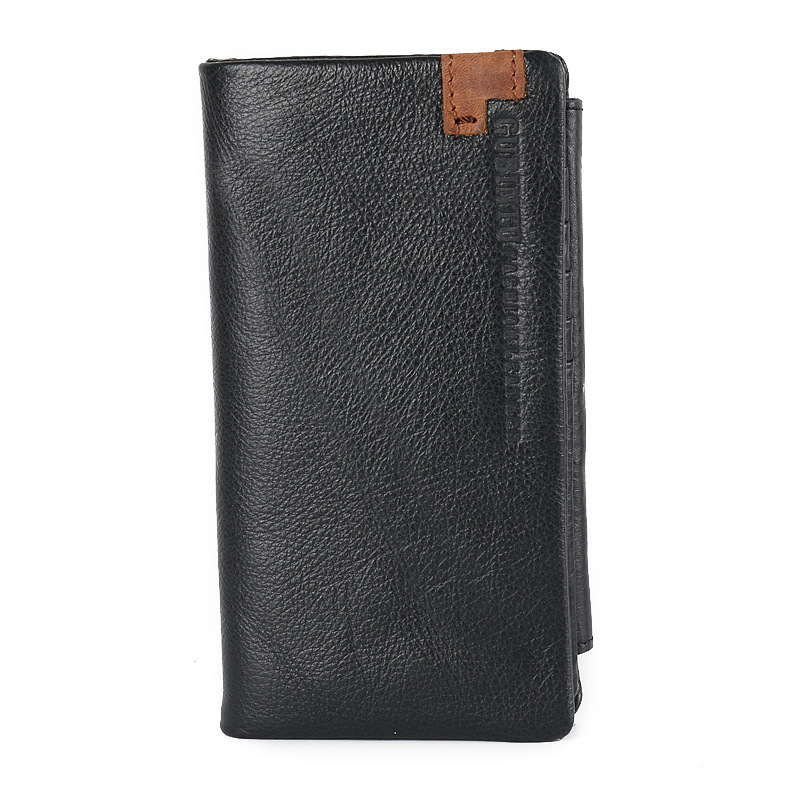 New Genuine Leather men wallets 3 fold wallet Casual men purse Card Holder Clutch bag Brand long design men bag N354 crazy horse leather men wallets 2018 new arrival man brand design purse card vintage wallet holder short fold genuine small bag