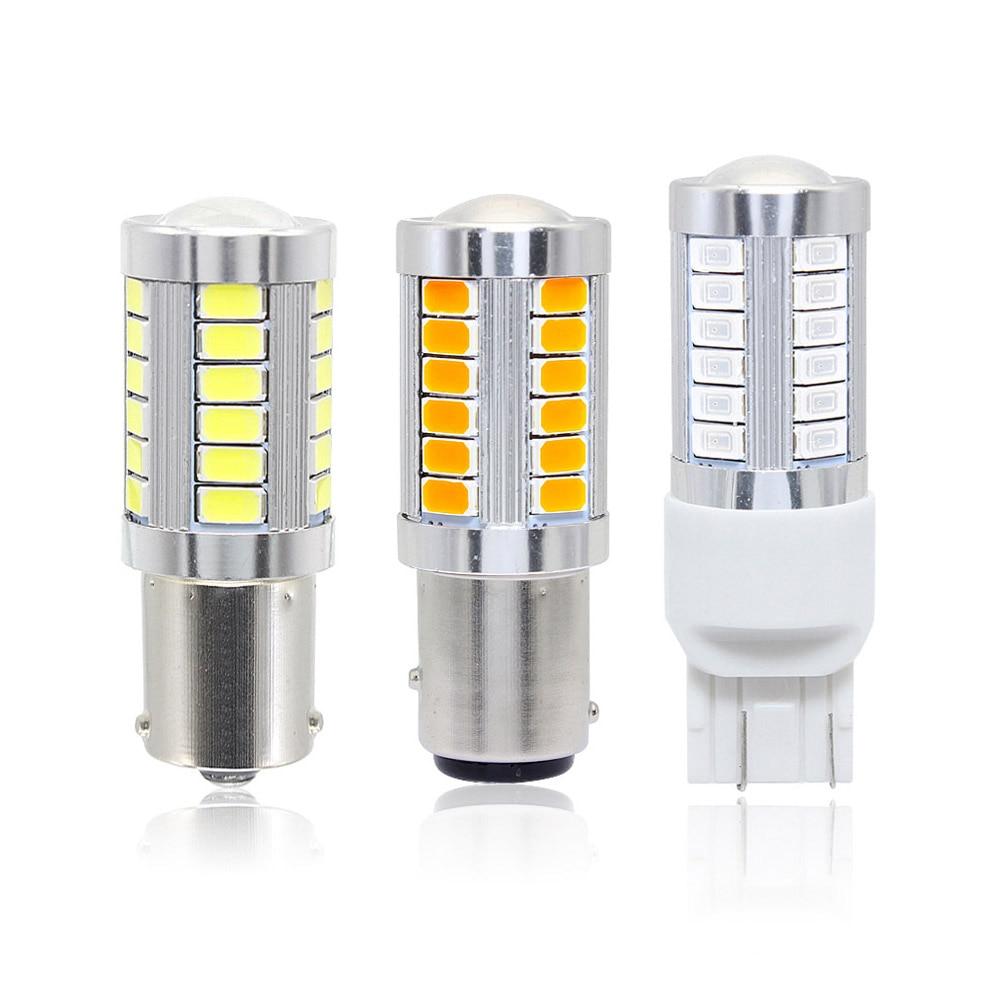 1x 7443 7440 1156 Ba15s 1157 Bay15d 33 SMD 5630 LED Light Bulb Car Brake Turn Tail Signal Lamp 12V White Red Yellow