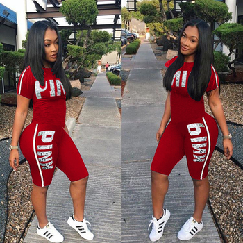 Fanco  Casual Pink Letter Print Women Two Piece Set New Summer Rompers Sexy Striped T-Shirts And Skinny Pants 2pcs Outfits 1