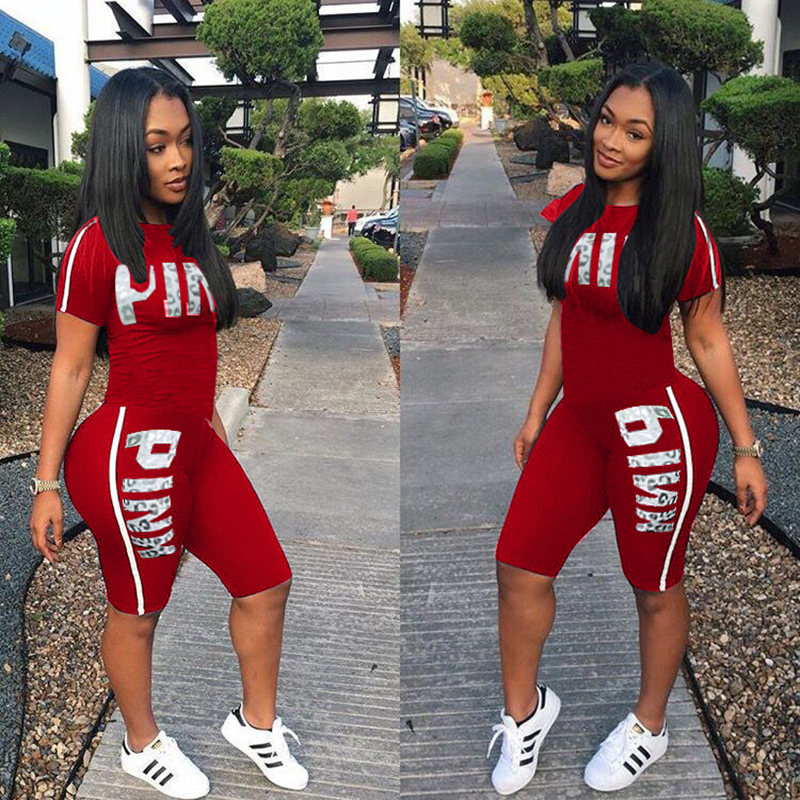 Fanco  Casual Pink Letter Print Women Two Piece Set New Summer Rompers Sexy Striped T-Shirts And Skinny Pants 2pcs Outfits