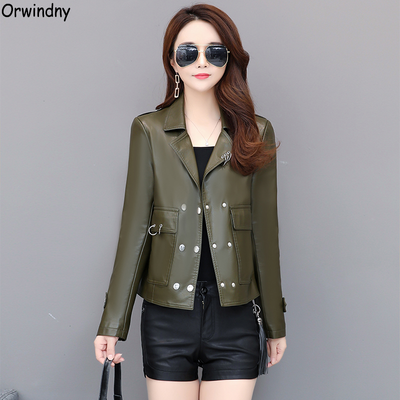 Orwindny Casual   Leather   Jacket Women Army Green Clothing For Female Lady Autumn   Leather   Coat Outerwear   Suede