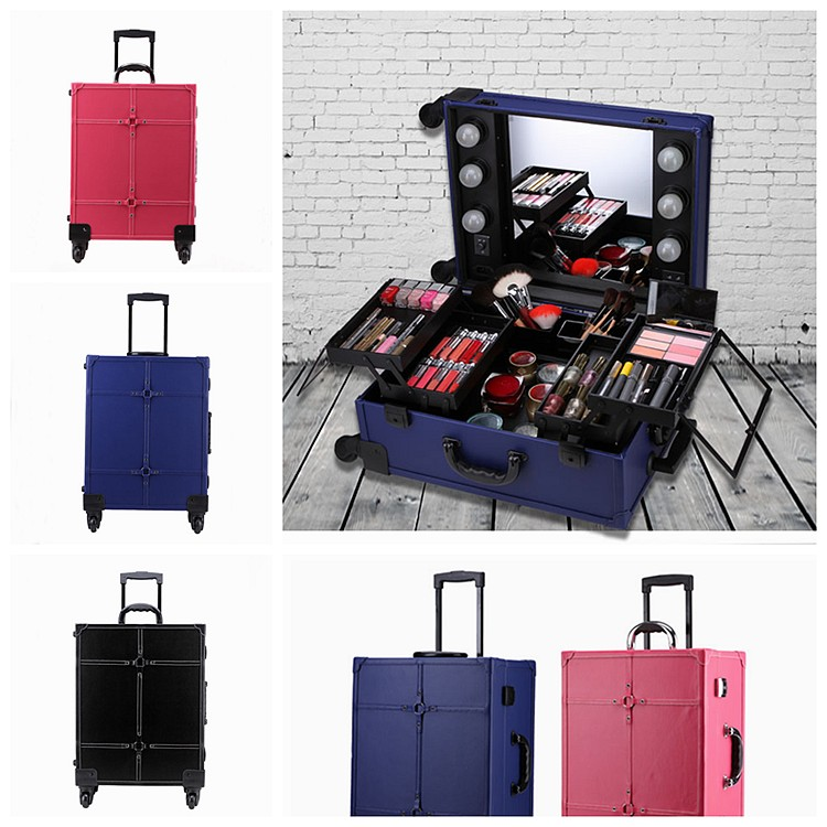 Rolling studio makeup artist cosmetic case with led light for Miroir 40 x 50