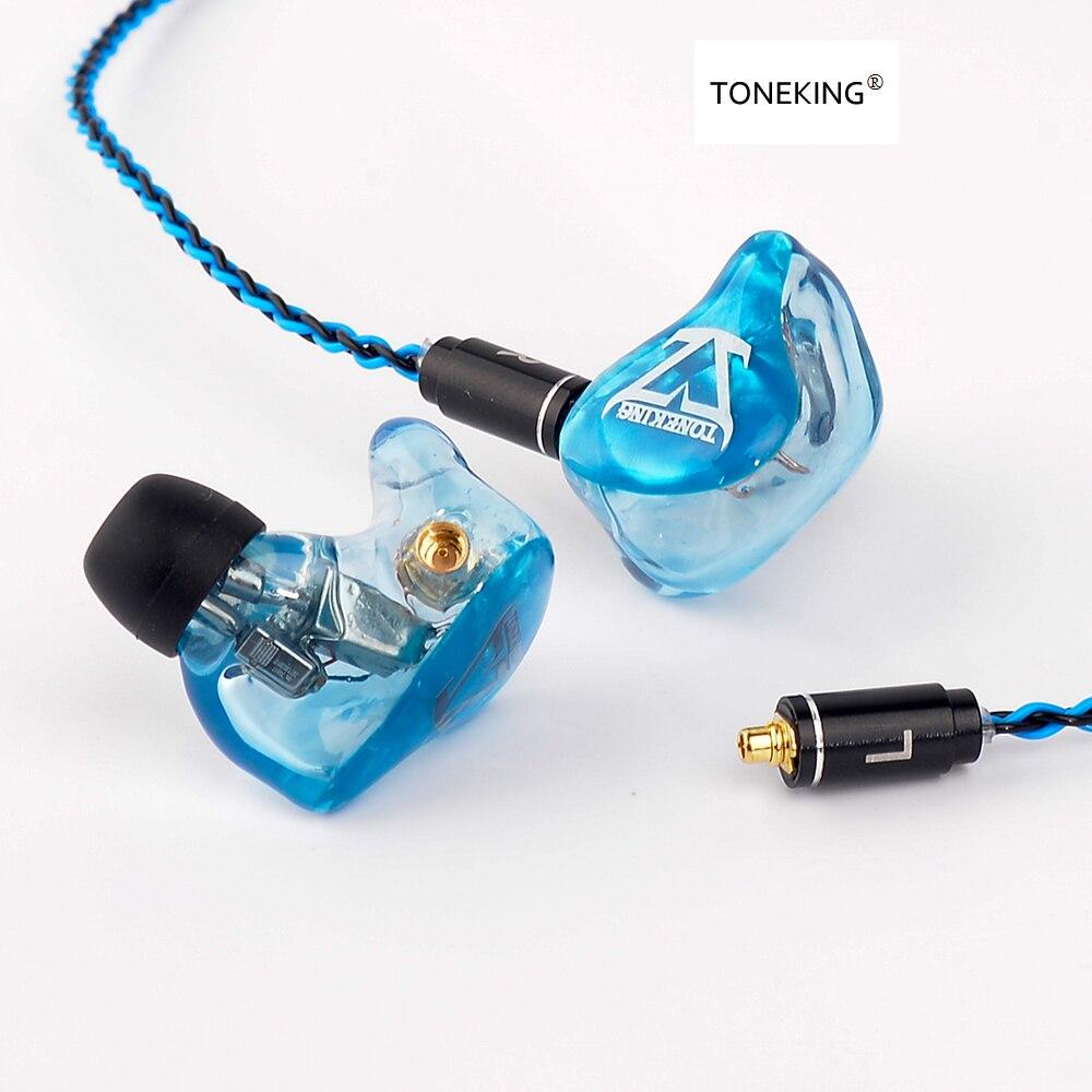 2018 TONEKING T4 4BA sur mesure dans l'oreille écouteur 4 Armature équilibrée HIFI moniteur de musique avec MMCX 8-Core câble de placage d'argent