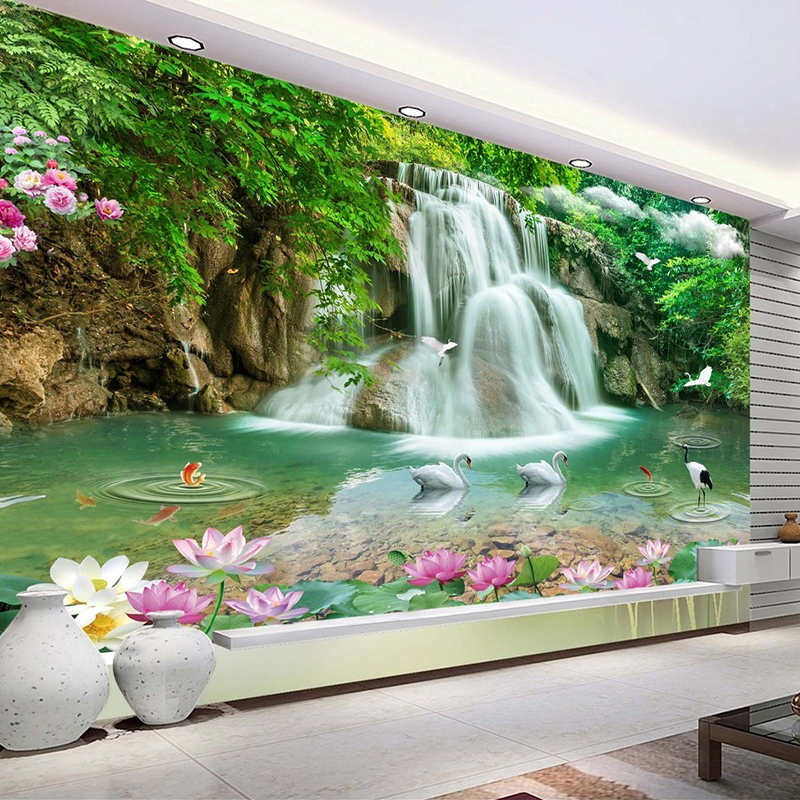 Custom 3D Photo Wallpaper Waterfall Landscape Mural Wall Painting Papel De Parede Living Room Desktop Wallpaper Walls 3D Modern custom 3d wall murals wallpaper luxury silk diamond home decoration wall art mural painting living room bedroom papel de parede
