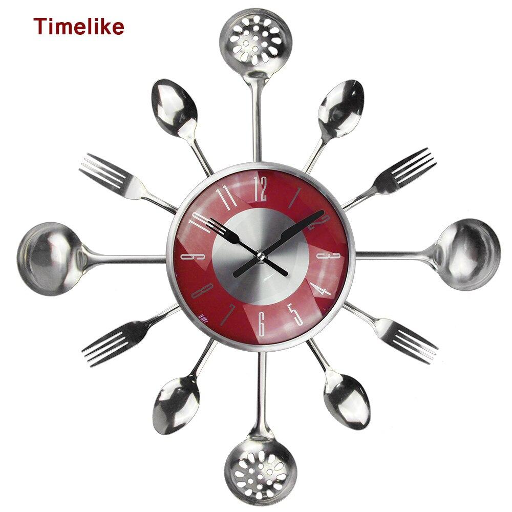 Us 2399 20 Off18 Cal Duże Dekoracyjne Zegary ścienne Saat łyżka Metalowa Widelec Zegar ścienny Do Kuchni Sztućce Kreatywny Designerskie Dekoracje