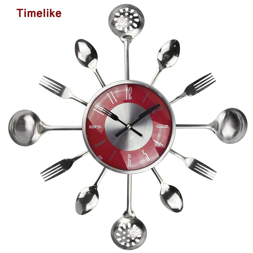 18 Pouces Grand Horloges Murales Décoratives Saat En Métal Cuillère Fourchette Cuisine Horloge Murale Couverts Creative Design Home Decor Relogio De Pared