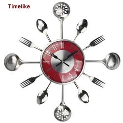 18Inch Large Decorative Wall Clocks Saat Metal Spoon Fork Kitchen Wall Clock Cutlery Creative Design Home Decor Relogio De Pared