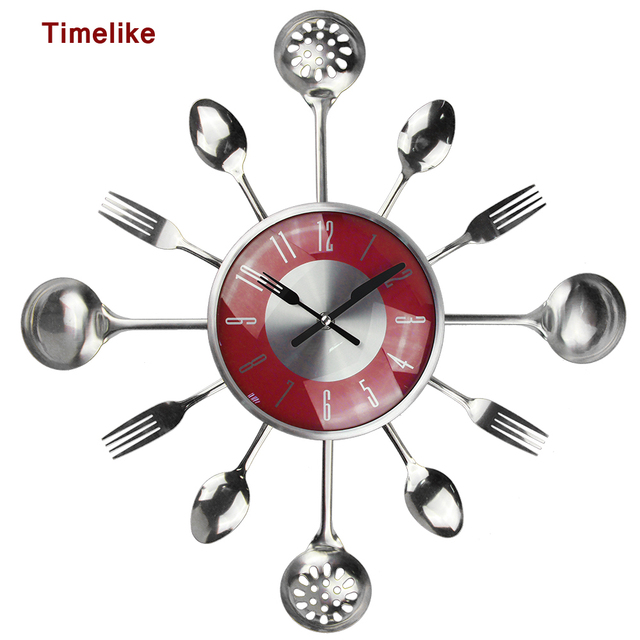 18inch Large Decorative Wall Clocks Saat Metal Spoon Fork Kitchen Clock Cutlery Creative Design Home