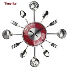 18Inch Large Decorative Wall Clocks Saat Metal Spoon Fork Kitchen Wall Clock Cutlery Creative Design Home Decor Relogio De Pared